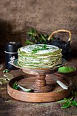 Matcha crepe cake with cream cheese
