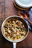 Mushrooms and pancetta in a cream sauce