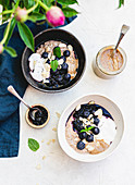Porridge Almond Butter Blueberries