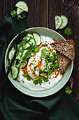 Cilbir (poached egg with yoghurt, Turkey)