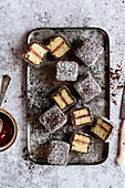 Lamingtons with strawberry jam