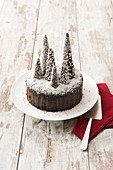A snowy forest Christmas chocolate cake