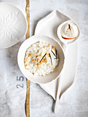 Julgrot (vanilla rice pudding with almonds and caramel cream, Scandinavia)