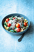 Creamy pasta with a white wine sauce and mushrooms