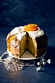 Panettone with citrus and cardamom cream and candied oranges