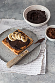 Toast with vegan chocolate spread and banana