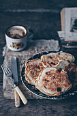 Chocolate chip pancakes and coffee