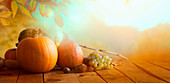 Thanksgiving day, nature background with autumn fruit on table.