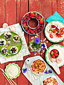 Fruits, berries, summer, countryside, flowers, cakes, dessert, cream