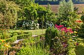 Blick auf Garten mit Hortensien und Tor zum Laubengang