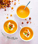 Sweet pumpkin soup with brittle