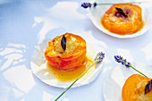 Roasted apricots with lavender flowers