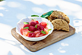 Oatmeal biscuits with fruit salad