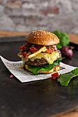 Magyu burger with halloumi