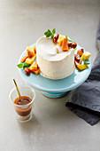 Crème brûlée semi-freddo with mango compote