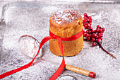A mini Panettone with icing sugar