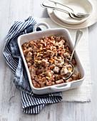 Chestnut gnocchi gratin with bacon