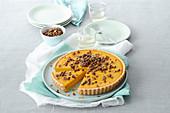 Pumpkin tart with caramelised pumpkin seeds