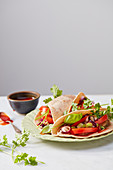 Wholemeal tacos with aubergine cream and pico de gallo