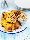 Grilled corn with herb butter and chiliflakes