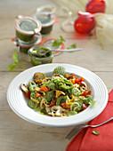 Spinach gnocchi with almond pesto