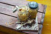 Bircher muesli in glass jars