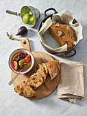 Einkorn bread with dried figs and fresh fig compote