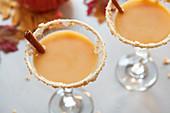 Pumpkin Martini cocktail with cinnamon
