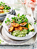 Low carb fish fingers with mushy broad beans