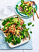 Miso chicken with broccolini and asparagus