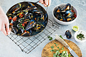 Asian mussels with chilli, lime and cilantro