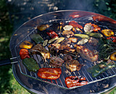 Meat and vegetables on barbecue