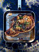 Cote de boeuf in a grill pan
