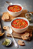 Bean and tomato sauce