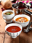 Soups from potatoes, pumpkin and tomatoes