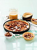 Pecan pie with caramel