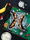 Grilled bananas with marshmallows and nuts