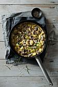 Gnocchi with creamy mushroom and tarragon sauce