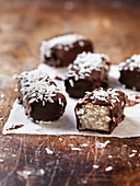 Homemade chocolate and coconut bars