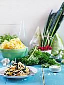 Kale tagliatelle with chilli
