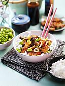 Stir fried tofu with shiitake and edamame