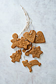 Christmas ginger bread biscuits as a tree decoration