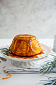 Christmas orange and almond steamed pudding with orange carmel sauce