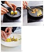 Gebratene Austernpilze mit Artischocken, Polenta, Erbsen und Popcorn zubereiten und anrichten