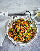 Ayurvedic couscous vegetables with apple and mint