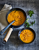 Ayurvedic pumpkin and lentil soup with ginger