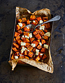 Ayurvedic oven pumpkin cubes with sheep's cheese