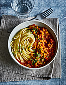 Ayurvedic pasta with lentil bolognese