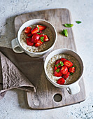 Ayurvedic quinoa and coconut porridge with strawberries