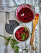 Ayurvedic beetroot chutney with apple and ginger